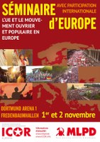 Affiche du Séminaire commun de l'Europe de ICOR et MLPD Allemagne