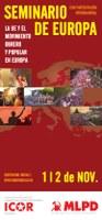 Flyer del Seminario de Europa conjunto de ICOR Europa y MLPD Alemania